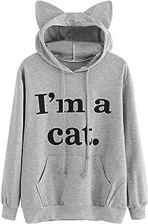 Romwe Women's Long Sleeve Kangaroo Pockets Slogan Letter Print Cute Cat Ear Pullover Hoodie