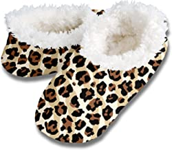 Snoozies! Leopard Stripe Women's Sherpa Footcoverings Small Natural/Brown