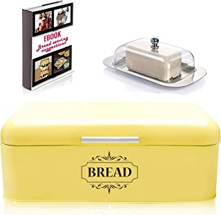 Vintage Bread Box For Kitchen Stainless Steel Metal in Retro Yellow + FREE Butter Dish + FREE Bread Serving Suggestions eBook 16.5