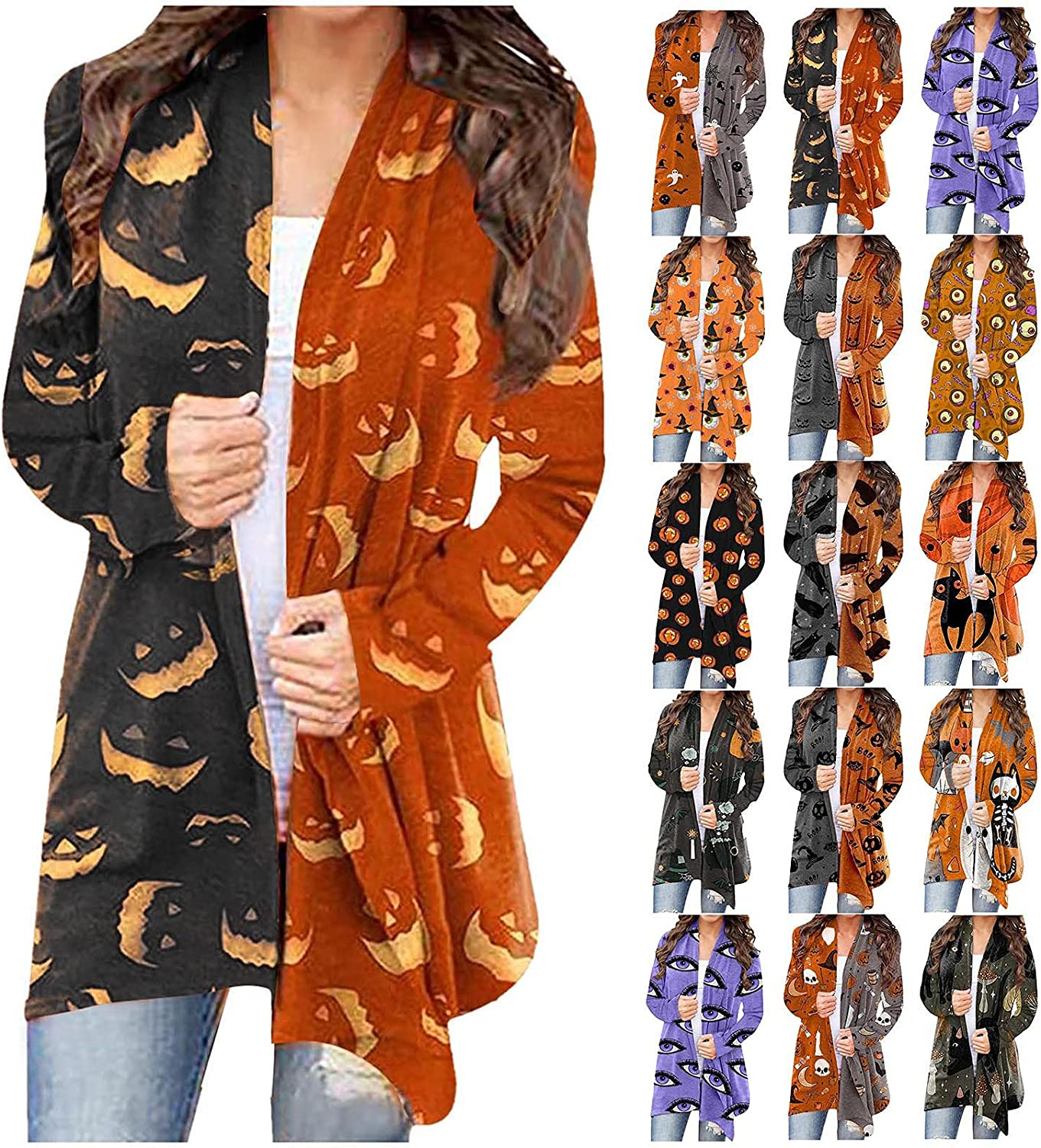 nunonette Womens Halloween Printed Graphic Funny Pattern Long Sleeve Tops Open Front Cardigan Blouse Lightweight Coat