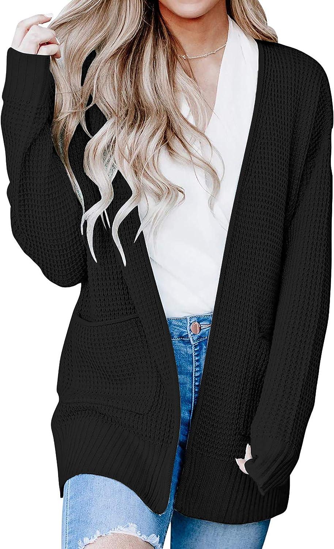 BTFBM Women Open Front Long Sleeve Casual Plain Knit Pockets Ribbed Hem Cuffs Side Slits Long Chunky Sweater Cardigan