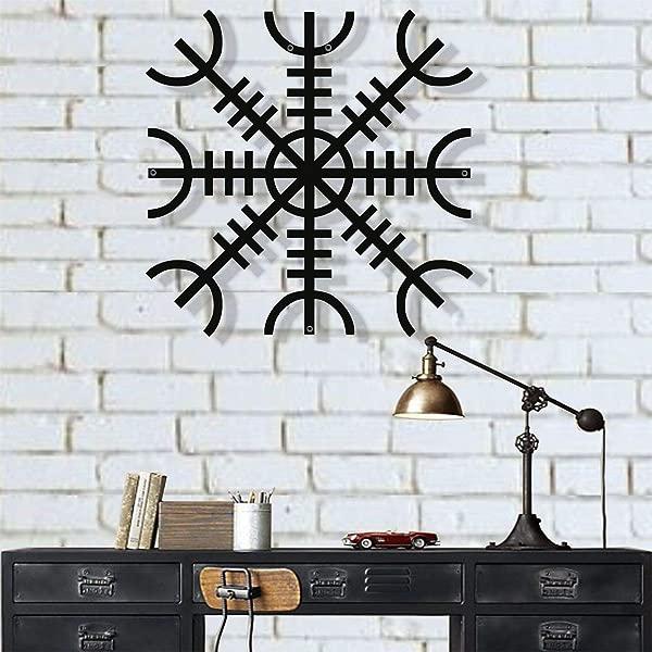 DEKADRON 金属墙壁艺术金属维京装饰北欧神话 Vegvisir 符文和符号金属墙壁装饰挪威家居装饰室内装饰 18 W X 18 H 45x45 Cm