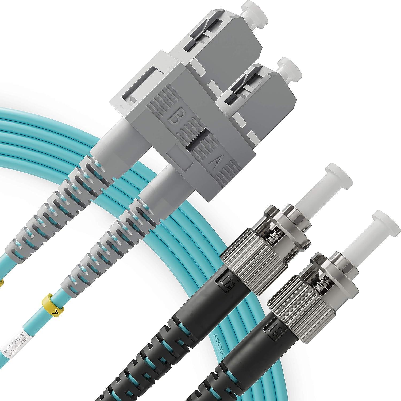 SC to ST Fiber Patch Cable Multimode Duplex - 1m (3.28ft) - 50/125um OM3 10G LSZH - Beyondtech PureOptics Cable Series