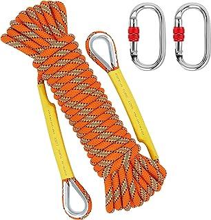 NTR Orange/Black Outdoor Climbing Rope 10M(32ft) 20M(64ft) 30M(96ft), 8MM Diameter Rock Climbing Rope with 2 Steel Hooks, ...