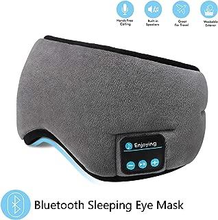 Bluetooth Sleeping Eye Mask Headphones,SKYEOL 4.2 Wireless Bluetooth Headphones Adjustable&Washable Music Travel Sleeping Headset with Built-in Speakers Microphone Hands-Free for Sleeping (Grey)
