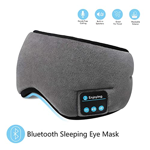 Grey Bluetooth Sleeping Eye Mask with Wireless Headphones,ERNSTING Wireless Bluetooth Music Headset with Adjustable Built-in Speaker and Microphone Calls Washable Perfect for Travel and Sleep