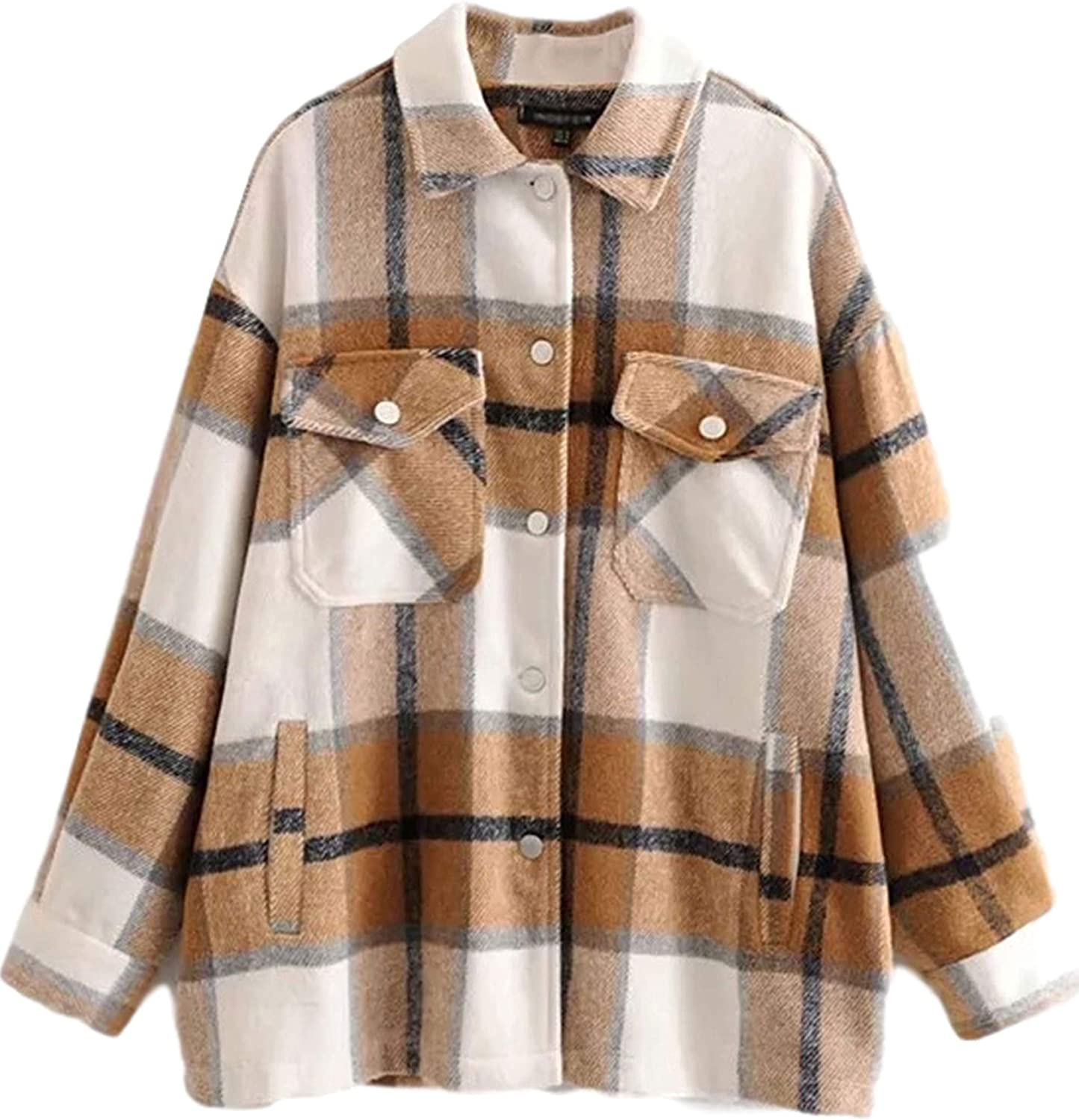 Gihuo Womens Casual Loose Button Down Wool Blend Plaid Shirt Jacket Shacket