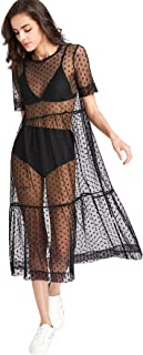 Floerns Women's Sheer Mesh Dress Beach Swimwear See Through Cover Ups