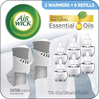 Air Wick Plug in Scented Oil Starter Kit, 2 Warmers + 6 Refills, Fresh Linen, Same Familiar Smell of Fresh Laundry, Eco Fr...