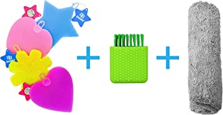 5 Silicone Sponges, Scrubbing Block & Microfiber Towel Set | Wedding Home Baby College Gift | Clean Dishes Vegetables Fruits | Dry Lint-Free Cars Windows