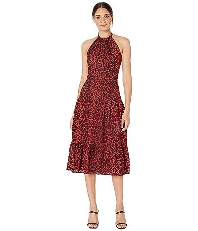 Sam Edelman Leopard Halter Neck Maxi (Red Leopard) Women
