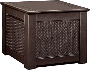 Rubbermaid Decorative Patio Chic Weather Resistant Outdoor Storage Deck Box Cube, Dark Teak