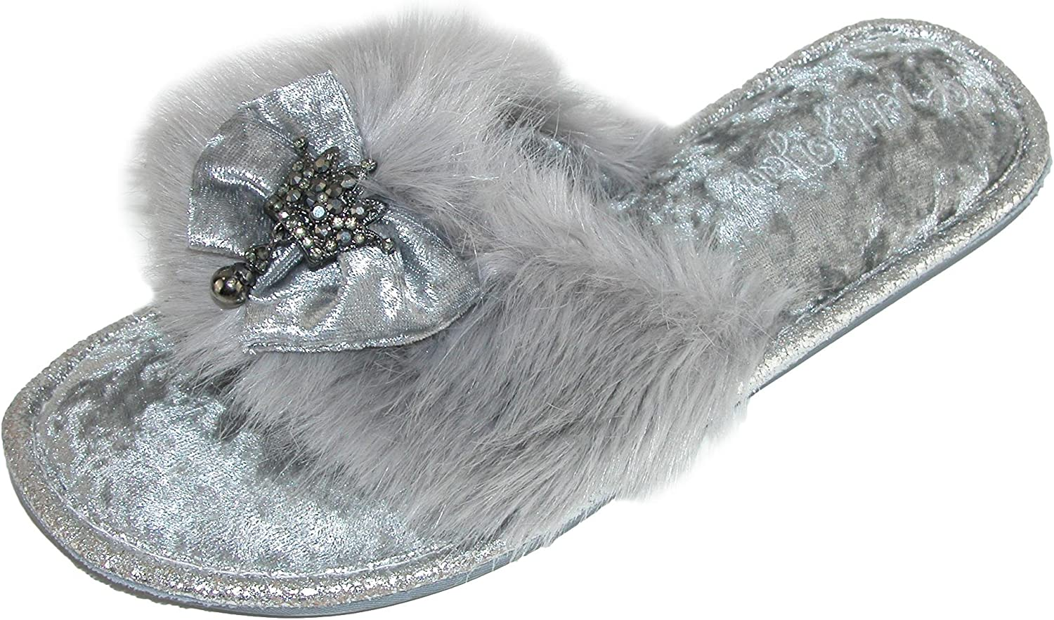 Pretty You London Women's Dress Slippers with Bow & Faux Fur Detail