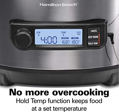 Hamilton Beach Portable 6-Quart Digital Programmable Slow Cooker With Temp Tracking Temperature Probe to Braise, Sous Vide, Make Fondue & Yogurt, Lid Lock, Black Stainless (33866)