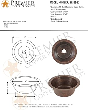 Premier Copper Products BR12DB2 12-inch Round Hammered Copper Bar Sink with 2-inch Drain Opening