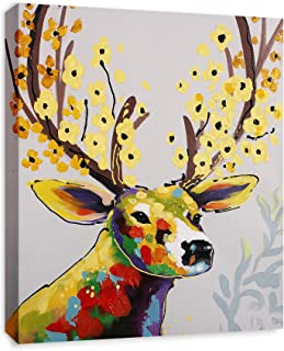 Art Hub Colorful Deer with Flowers Modern Pop Animal Art (Framed) Canvas Print Home Decor Wall Art, Gallery Wrap Inner Frame, 7x9