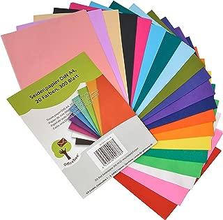 OfficeTree® papel de seda 300 hojas A4 - 20 colores - más diversión en sus manualidades, diseños y decoraciones - papel para esbozo y para recortar - 16 g/m² calidad premium