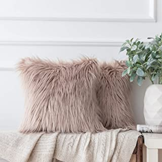 Ashler Pack of 2 Decorative Luxury Style Beige Faux Fur Throw Pillow Case Cushion Cover 18 x 18 Inches 45 x 45 cm