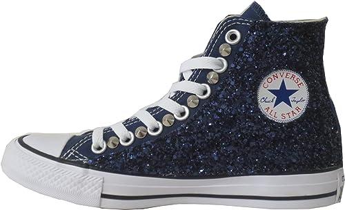 Converse all Star Blu Glitter Blu Borchiate con Borchie