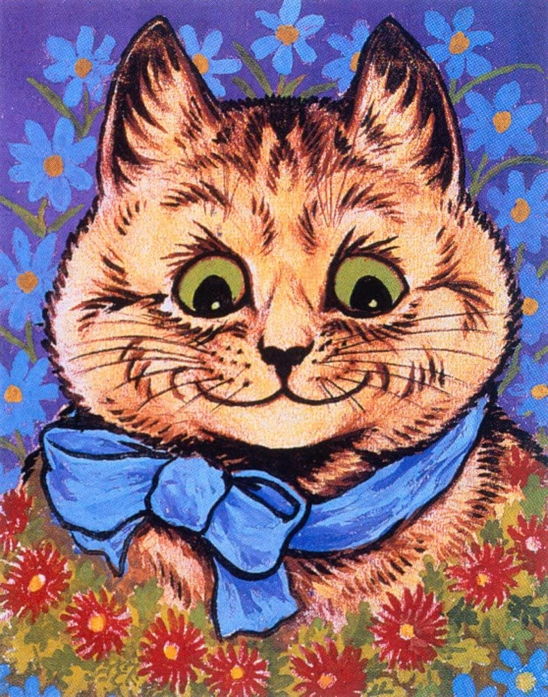 Cat with Blue Ribbon Vintage Print Topics on TV 36x54 Gallery Poster mart Giclee