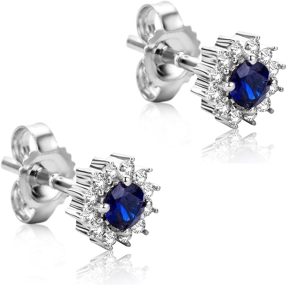 Orovi orecchini per donna in oro bianco 9 kt / 375 (0,96 g) con diamanti e zaffiri ct 0.10 + ct 0.25 OR81068E
