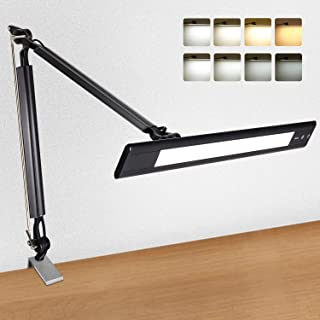Amico LED Desk Lamp Architect Task Lamp with Clamp Metal Swing Arm Clamp Lamp Adjustable Eye Care Touch Control Dimmable 4 Lighting Modes Memory Function for Drafting Office Craft Studio Workbench