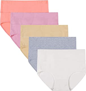 Women's Multipack High Waist Tummy Control Solid Color Cotton Briefs Panties(Love Yourself First)