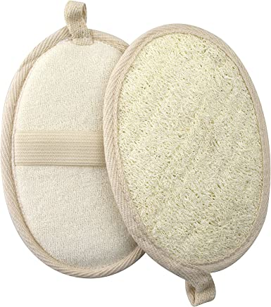 GWHOLE 2 Pack of Exfoliating Loofah Pads Natural Loofah Sponge for Shower