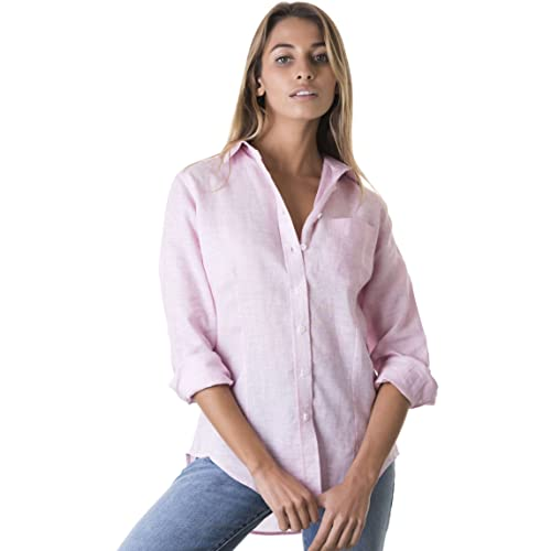 058f581842e4 CAMIXA Women s 100% Linen Casual Shirt Slim Fit Button-Down Airy Basic  Blouse
