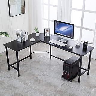 "AuAg 66"" L Shaped Desk Modern Computer Table PC Laptop Study Workstation Corner Sturdy Home Office Desk (Black)"