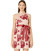 Floral Tapestry Embroidery, Tulle and Point D'Esprit Dress
