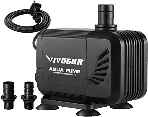 wholesale VIVOSUN 400GPH Submersible Pump(1500L/H, 15W), Ultra Quiet Water Pump with 5.3ft High Lift, Fountain Pump sale with 5ft Power Cord, 2 Nozzles for discount Fish Tank, Pond, Aquarium, Statuary, Hydroponics sale