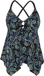 45ef98d7be Firpearl Women's Black Flowy Swimsuit Crossback Plus Size Tankini Top