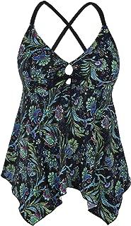 Firpearl Women's Black Flowy Swimsuit Crossback Plus Size Tankini Top