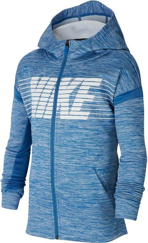 Nike Kids Boy's Therma Graphic Full Zip Hoodie (Big Kids) Mountain Blue/Heather/Mountain Blue/White