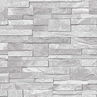 3D Slate Stone Brick Effect Wallpaper Washable Vinyl Natural Grey