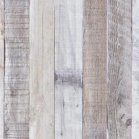 """Art3d 17.7""""x78.7"""" Peel and Stick Wallpaper - Decorative Self Adhesive Vinyl Film Wood Grain Wallpaper for Furniture Cabinet Countertop Shelf Paper, Grey Shiplap Wallpaper"""