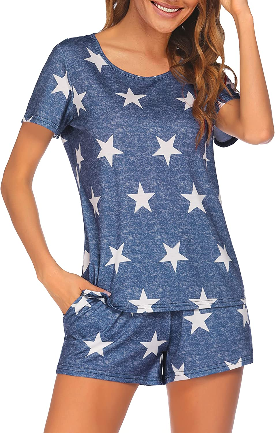 luxilooks Womens Pajamas Set Short Sleeve Sleepwear Star Print Lounge Sets Soft Pjs Top and Shorts with Pockets S-XXL