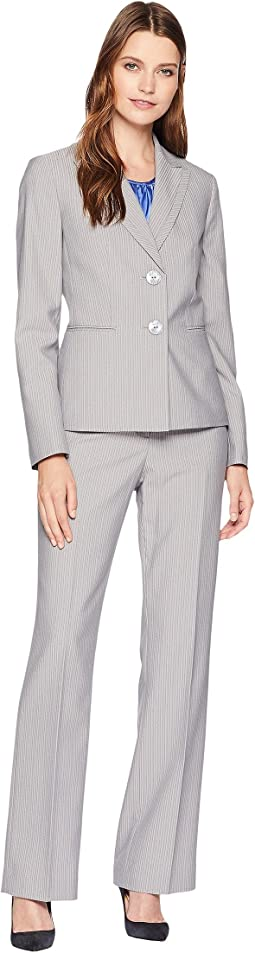 Pinstripe Two-Button Jacket Pants Suit