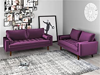 Container Furniture Direct Mid Century Modern Velvet Upholstered Button Tufted Living Room Sofa, 2 Piece Set, Eggplant