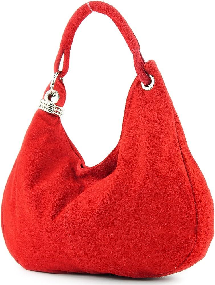 Modamoda de, borsa a mano/spalla per donna, in pelle scamosciata T02R