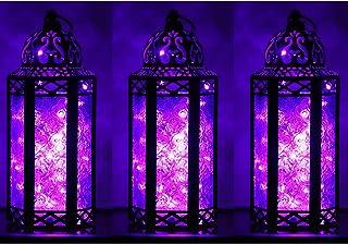 Decorative Candle Lanterns Holder with LED Fairy Lights for Patio Decor, Medium, Purple, Set of 3