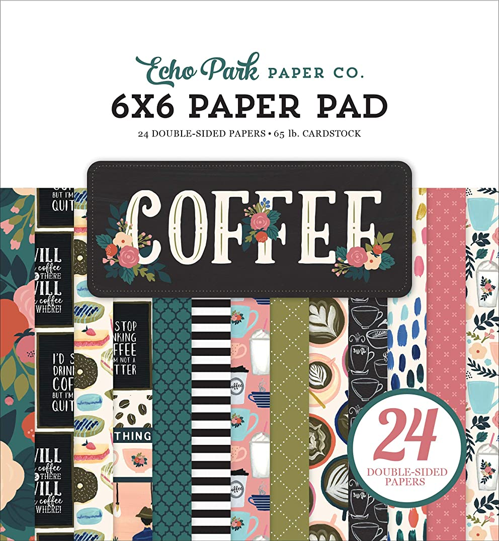 Echo Park Paper Company CO164023 Coffee 6x6 Pad Paper, 6-x-6-Inch, Pink/Green/Red/Navy/Blue/Teal/Black