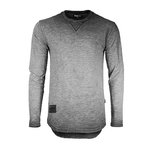 823ace25 ZIMEGO Mens Long Sleeve Crewneck Raw Cut Edge Oil Wash Vintage T-Shirts