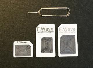 F.Wave 【Amazon限定】 Nano SIM変換アダプターSTD 4点セット ホワイト 白 (標準 マイクロ Nano) iPhone6S/6/6plus/5S/5C/4S/4/3GS/3用STD f.wave of FuturePlu...