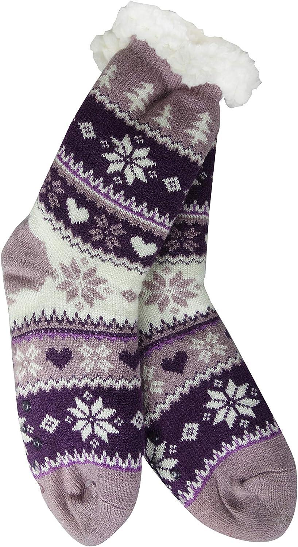Sherpa Womens Thermal Slipper Socks (Orchid/Purple Snowflake, Tree, and Heart)