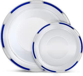 Laura Stein Designer Dinnerware Set   64 Disposable Plastic Party Bowls   White Bowl with Blue Rim & Silver Accents   Includes 32 x 12 oz Soup Bowls + 32 x 5 oz Dessert Bowls   Venetian