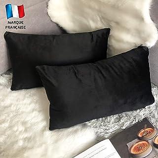 Douceur De Plumes Set van 2 fluwelen kussenhoezen 30x50 Zwart zachte en solide, vierkante decoratieve kussensloop voor sof...