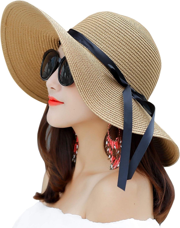 Muryobao Womens Wide Brim Straw Sun Hat Floppy Foldable Roll up Cap UPF 50+ Summer Beach Hats