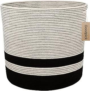 INDRESSME Goodpick Large Cotton Rope Basket - Woven Storage Basket - Floor Basket with Handle for Baby Nursery Decor Bin Laundry Basket Blanket Hamper Toys Basket, 17.3'' ×15.8''